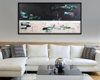 abstract wall art for living room. 60x30 Stretched Extra Large Abstract Art Painting Wall  abstract art Etsy