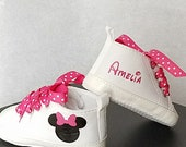 Infant Shoes, Personalized Name, 3-18 months, White Hot Pink, Minnie Mouse, Polka Dots