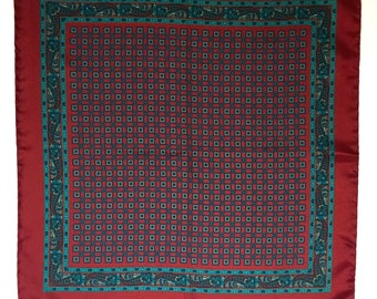 Vintage Men's Silk Pocket Square, Maroon with Teal and Beige Squares and Flowers, Made in Italy