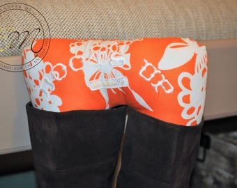 Boots Up by Endear Me Handmade boot stuffer in Orange Floral cotton fabric - closet organizer; boot trees