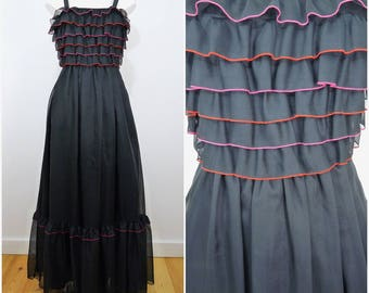 VINTAGE 1970s Vera Mont Tiered Bodice Bohemian Frill Evening Party Maxi Dress UK 10 / F 38 / Spanish / Cocktail Chic