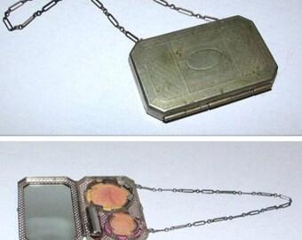 Vintage Art Deco Compact Purse, Dance Purse, 1920s Beauty Accessory, Flapper Era, Metal Compact Bag, Collectible Compact