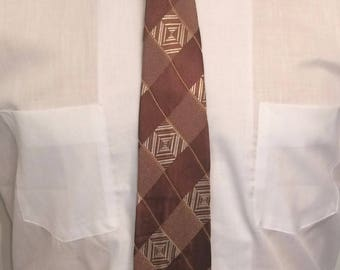 Vintage MENS hand tailored brown, white & gold plaid rockabilly or swing tie, circa 40s-50s