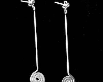 Sterling Silver Artsy Dangle Earrings Pierced .925 Funky Retro
