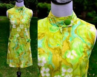 1960s Green Tropical Mod Mini Dress / Evelyn Margolis Hawaii Vintage Abstract Print Mini Dress / Size 2/4