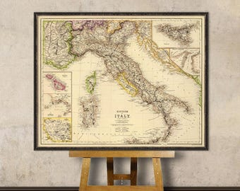 Old map of Italy - Fine print - Historical map restored - Italy map fine reproduction