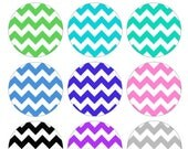 Chevron Zig Zag Pattern Printable 1-Inch Circles / Bottlecap Images / Rainbow bold colors / Digital Collage / Instant Download / V Designs
