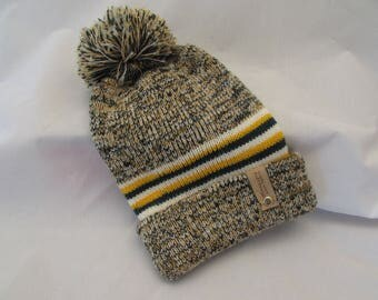 Team Colors-Green and Gold 100% Wool Knitted Double Lined Beanie-Free Shipping Always