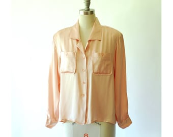 vintage I MAGNIN pink silk charmeuse satin blouse / size medium