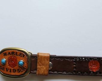 Vintage Stamped Leather Harley Davidson Belt with Buckle 1970s