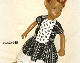 Crisp Black and White Summer Dress, Handmade for 16 - 17 Inch Vintage Sasha Doll, Adult Collectors, Modern Doll Clothes, by traveller240