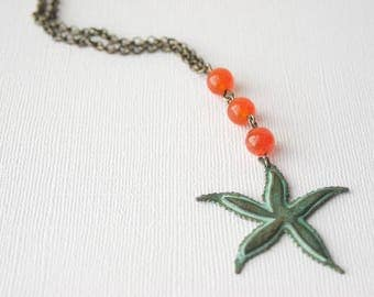 Starfish Necklace, Starfish Jewelry, Beach Necklace, Beach Jewelry, Orange Necklace, Bronze Necklace, Green Patina Necklace, Trending
