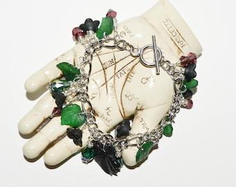 Vine Leaf Charm Bracelet, Wine Lovers Jewelry, Green and Purple, Loaded Charm Bracelet, Leaves Jewelry, Unusual Bracelet, Bead Jewelry Gift
