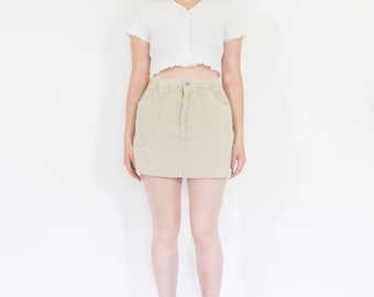 90s Ecru Corduroy Mini Skirt
