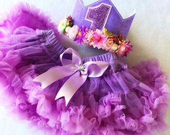 1st Birthday Flower Crown & Lilac Pettiskirt Tutu, Purple Flower Wreath Photo Prop Baby Girls  First Birthday