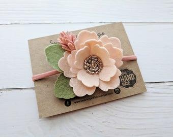 Felt Flower Headband,Blush Pink Rose Gold Coral,Nylon Headband Baby,Spring Headband,Blush Baby Headband,Pink Rose Gold,Baby Flower Headband
