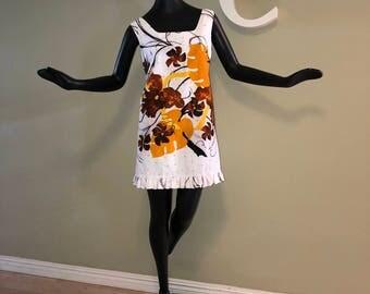 Size Large Vintage 60s Hawaiian Mini Dress 1960s 1970s Tiki Oasis Hukilau Tropical Beach Polynesian Barkcloth Ruffle Ruffled Shift Sheath L