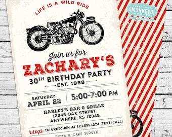 Vintage Motorcycle Invitation