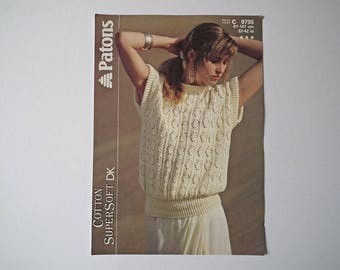 Original Patons 8735 Vintage Knitting Pattern, SuperSoft Cotton DK, Lady's Leaf Rib Top, Hand Knit Pattern, Size 32-42 inch, 81-107 cm