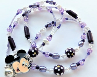 CHEERFUL PURPLE MICKEY- Beaded Id Lanyard- Sparkling Crystals, Pearls, Wood Beads, and Mickey Mouse Charm (Magnetic Clasp)