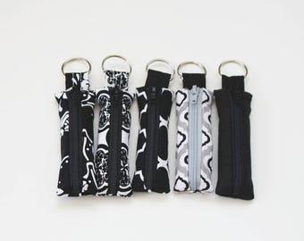 Lip Balm Cozy - classy black prints - lipstick keychain