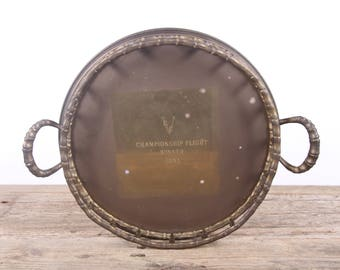 Vintage Brass Tray / Championship Flight Winner 1983 Award / Antique Golf Trophy / Old Golf Award / Brass Gold Home Decor Gift / Golf Decor