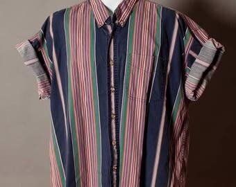 Vintage 80s 90s Men's Short Sleeve Button Down - St Johns Bay - XL