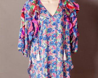 Sexy 80s Lingerie floral pattern blue pink with ruffles