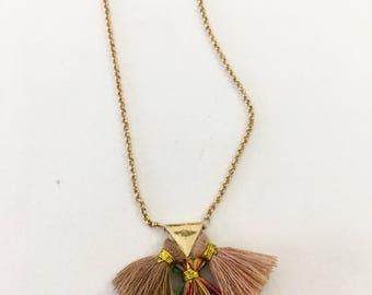 Small tassel pendant on gold filled chain