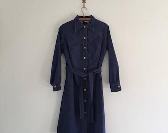 Vintage 70's Chambray Shirtdress Denim Dress M