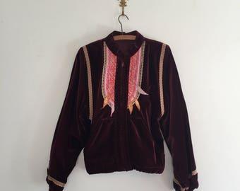 Vintage Burgundy Velvet Embroidered Jacket M