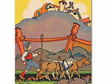 "Scandinavian Nursery Wall Art (Baby Boys Decor, Little Girls Print) ""Olaf & the 3 Goats"" -- Fairy Tale Artwork"