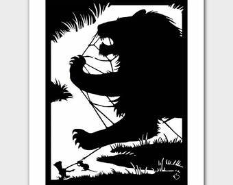 "Lion Wall Art (Black and White Silhouette Print, Boys Girls Nursery, Art Deco Room Decor ) ""Lion & Mouse"" --  Fairy Tale Book Illustration"