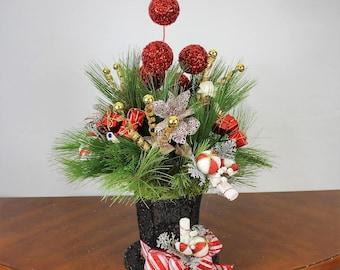 Snowman Hat Arrangement, Snowman Arrangement Centerpeice, Snowman Table Arrangement, Snowman Hat Decor, Christmas Arrangements, Arrangements