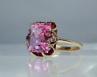 Vintage 10k Yellow Gold Pink Lab Sapphire Diamond Ring Size 6.5 Custom Cut Gemstone by SA DanPickedMinerals