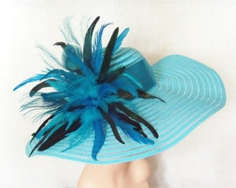 Turquoise Hat - Peacock Feathers, Kentucky Derby Hat, Garden Party Hat or Victorian Tea Party