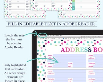 Address Book Printable, Contact Page, Address Page, Contacts Printable, Contact List, Printable Planner Inserts, Letter Size, A4 Size