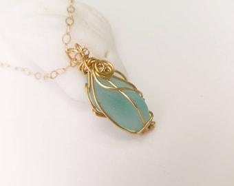 Aquamarine sea glass necklace. Wire bezel seaglass pendant. Beach finds genuine sea glass. Seafoam beach glass. Israel boho jewelry gift.