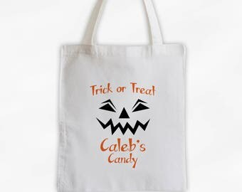 Trick or Treat Bag with Pumpkin Face Canvas Tote Bag - Personalized Candy Bag for Halloween - Kids Reusable Tote (3020)
