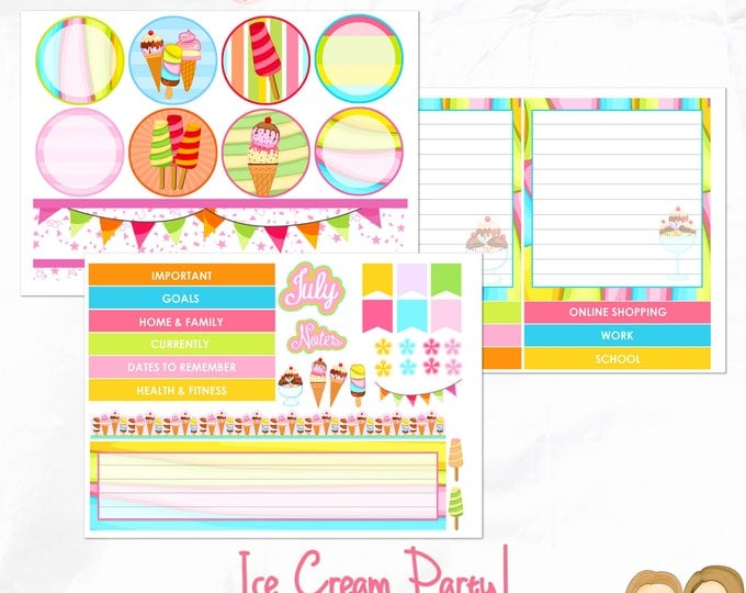 Notes Page Kit - 3 sheets for the Erin Condren Planner Notes Pages -monthly planning, Memory keeping- Ice Cream Party!