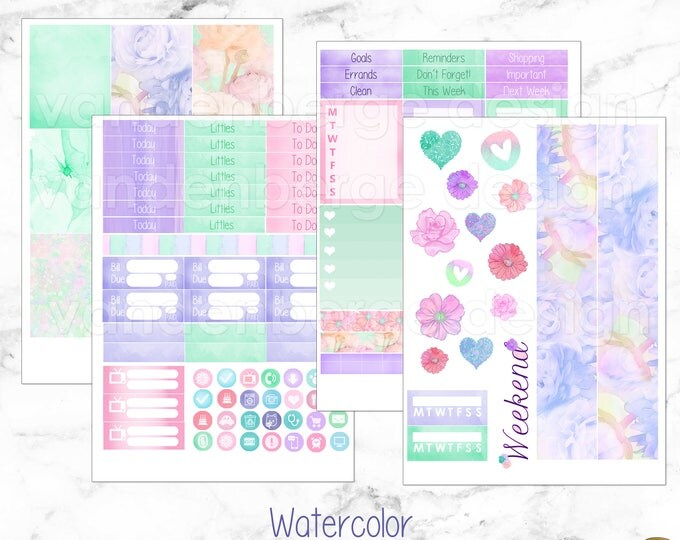 Watercolor Weekly Planner Sticker Kit for Erin Condren Life Planner or The MAMBI Happy Planner