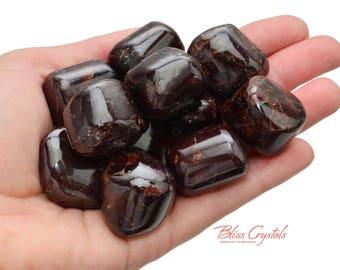 1 XL Red FIRE GARNET Tumbled Stone Healing Crystal & Stone Medicine Bag Passion Love Kundalini Energy Capricorn Birthstone #FG02
