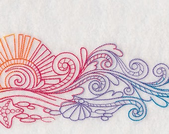 Rainbow Surfboard Embroidered on Plain Weave Cotton Tea Towel // Iron-on Patch // Kona Cotton Fabric Square