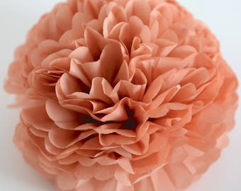 Paper pom pom in terracotta -  wedding decorations / party decor/ nursery decor/ bridal baby shower/ tissue paper pompoms / party poms
