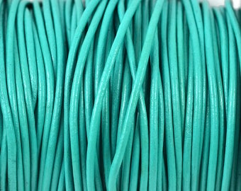 2mm Turquoise Leather Round Cord