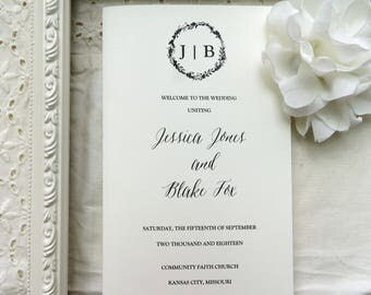 Wedding Programs  |  Instant Download PDF - Printable Wedding Programs |  Wedding Program |  Folded  |  Monogram Collection Style 03