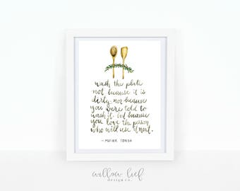 Wash the plate, Wall art, Watercolor Print, kitchen art , watercolor kitchen art, Mother Teresa quote
