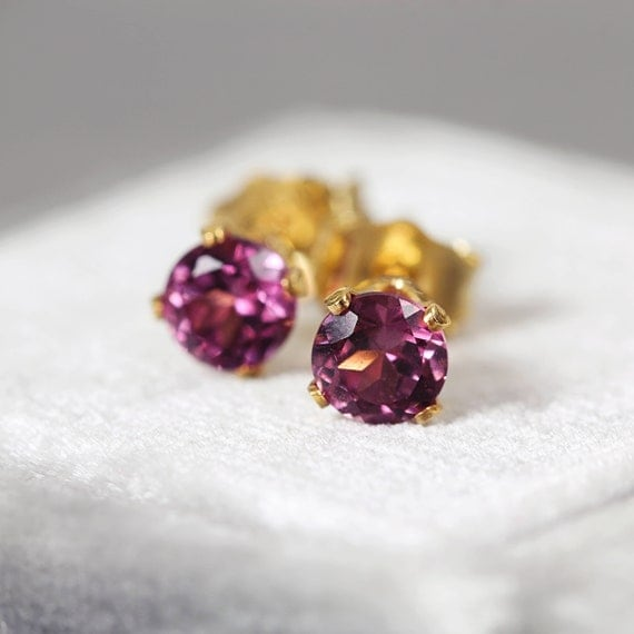 Rhodolite Garnet Earrings - Earrings for Love & Inspiration