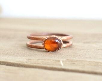 Hessonite garnet copper ring | natural gemstone | Raw stone ring | boho jewelry | double ring |