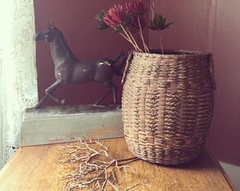 Antique Gathering Basket With Handles